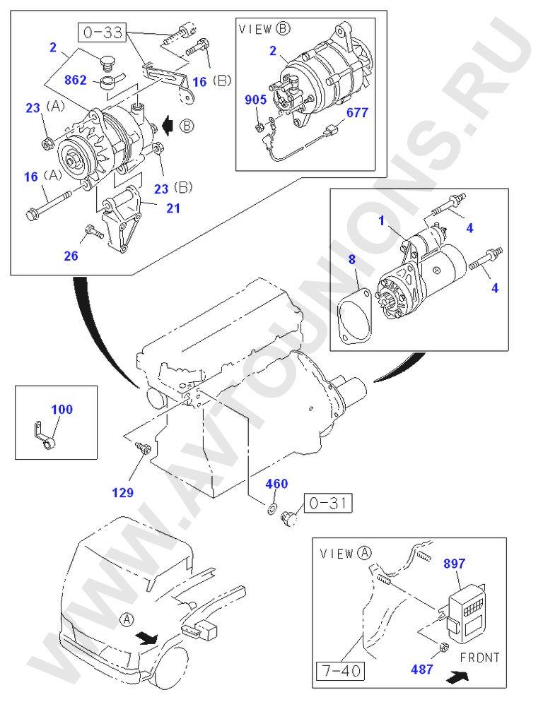 Схема расположения на моторе