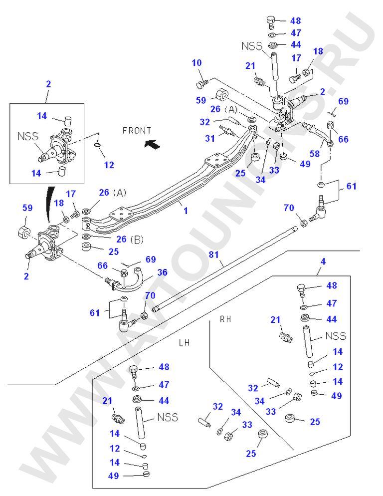 Передняя балка Исузу NQR71/75